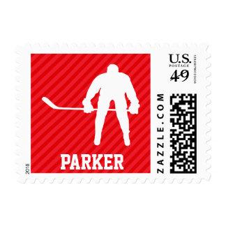 Hockey Player; Scarlet Red Stripes Stamp