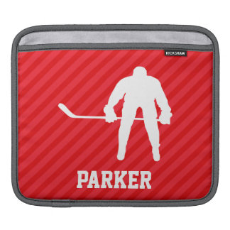 Hockey Player; Scarlet Red Stripes Sleeve For iPads