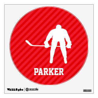 Hockey Player; Scarlet Red Stripes Wall Graphic