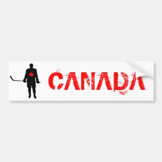 Hockey Player silhouette Canada Leaf Bumper Sticker