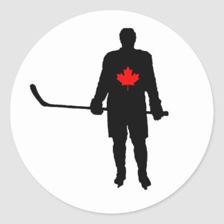 Hockey Player silhouette Canada Leaf Classic Round Sticker