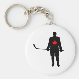 Hockey Player silhouette Canada Leaf Keychain