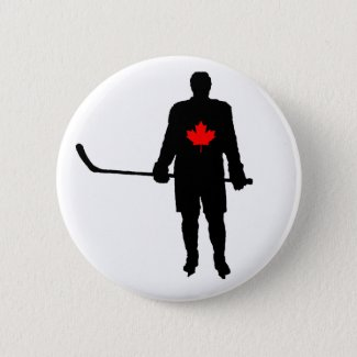 Hockey Player silhouette Canada Leaf Pinback Button