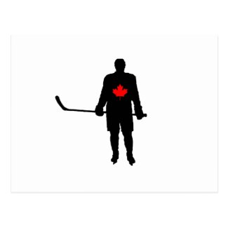 Hockey Player silhouette Canada Leaf Postcard