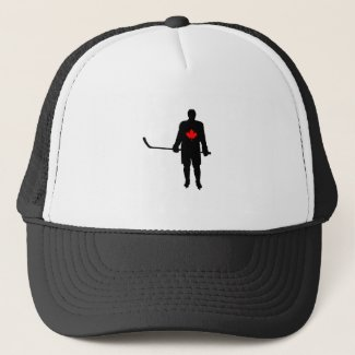 Hockey Player silhouette Canada Leaf Trucker Hat