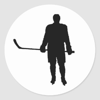 Hockey Player Silhouette Classic Round Sticker