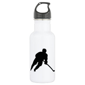 Hockey player stainless steel water bottle