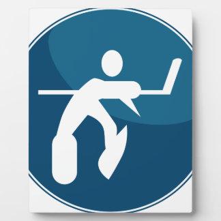 Hockey Player Stick Figure Icon Plaque