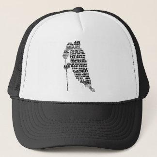 Hockey Player Typography Art Trucker Hat