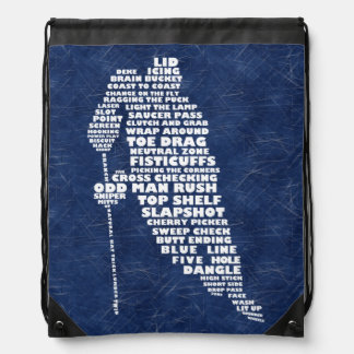 Hockey Player Typography Drawstring Backpack Bag