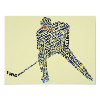 Hockey Player Typography Poster