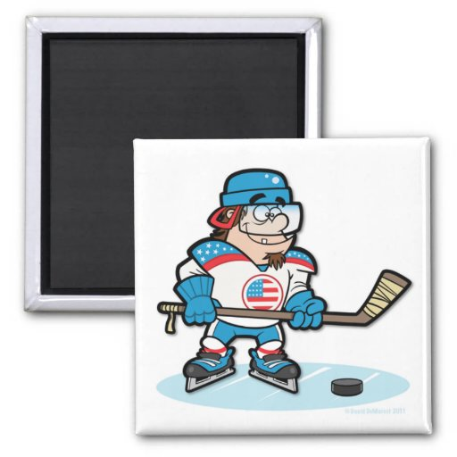 Hockey Player - USA 2 Inch Square Magnet