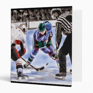 Hockey Players and Referee Face Off Binder