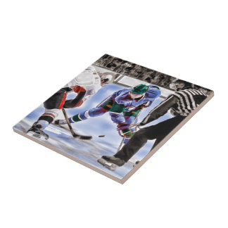 Hockey Players and Referee Face Off Ceramic Tile