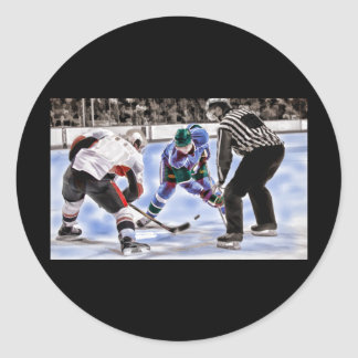 Hockey Players and Referee Face Off Classic Round Sticker