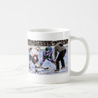Hockey Players and Referee Face Off Coffee Mug