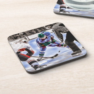 Hockey Players and Referee Face Off Coaster