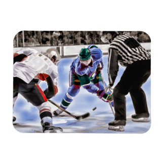 Hockey Players and Referee Face Off Magnet