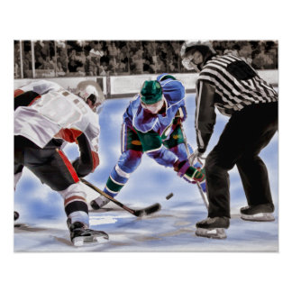 Hockey Players and Referee Face Off Poster