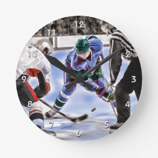 Hockey Players and Referee Face Off Round Clock
