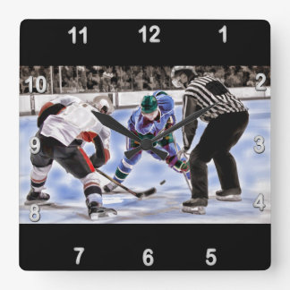 Hockey Players and Referee Face Off Square Wall Clock