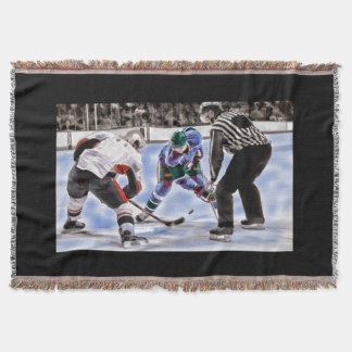 Hockey Players and Referee Face Off Throw