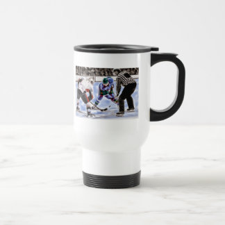 Hockey Players and Referee Face Off Travel Mug