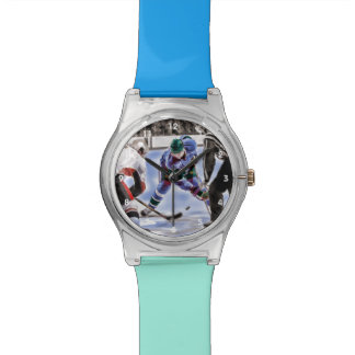 Hockey Players and Referee Face Off Watches