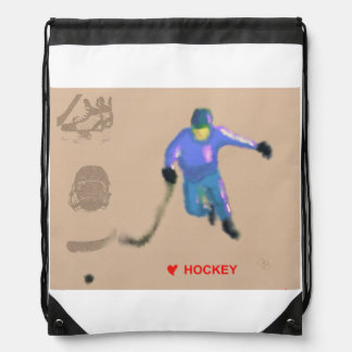 Hockey Playoff Art Drawstring Backpack