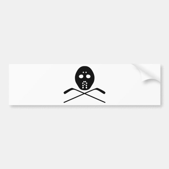 hockey protective mask and stick icon bumper sticker
