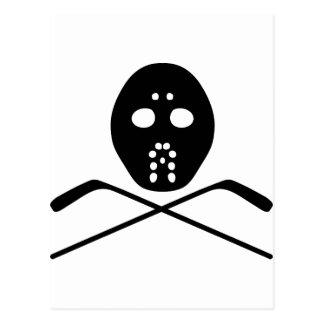 hockey protective mask and stick icon postcard