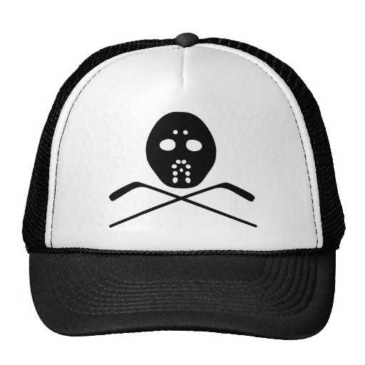 hockey protective mask and stick icon trucker hat