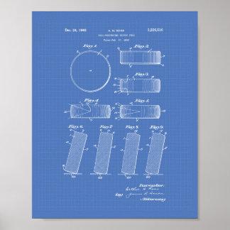 Hockey Puck 1940 Patent Art - Blueprint Poster