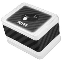 Hockey Puck; Black & Dark Gray Stripes Cooler