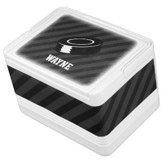 Hockey Puck; Black & Dark Gray Stripes Cooler