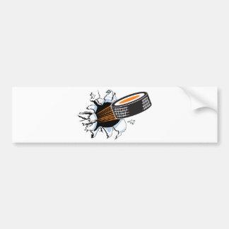 Hockey puck bumper sticker