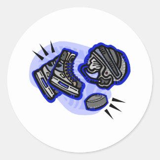 Hockey Puck Helmet & Skates Classic Round Sticker