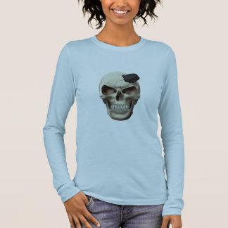 Hockey Puck in Skull Long Sleeve T-Shirt