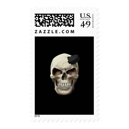 Hockey Puck in Skull Postage