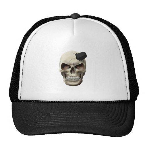 Hockey Puck in Skull Trucker Hat