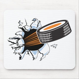 Hockey puck mouse pads