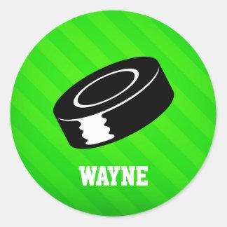Hockey Puck; Neon Green Stripes Classic Round Sticker