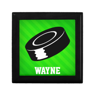 Hockey Puck; Neon Green Stripes Gift Boxes