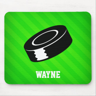 Hockey Puck; Neon Green Stripes Mouse Pad