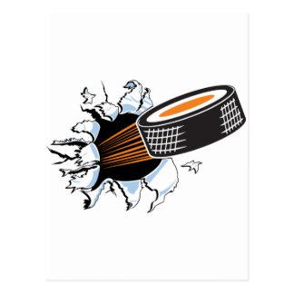 Hockey puck postcard