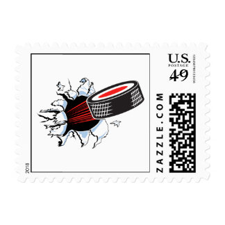 hockey puck ripping through postage stamps