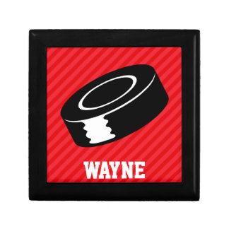 Hockey Puck; Scarlet Red Stripes Gift Boxes