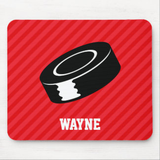 Hockey Puck; Scarlet Red Stripes Mouse Pad