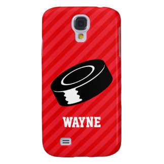 Hockey Puck; Scarlet Red Stripes Samsung Galaxy S4 Covers