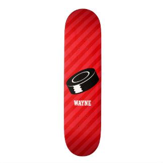 Hockey Puck; Scarlet Red Stripes Skateboard